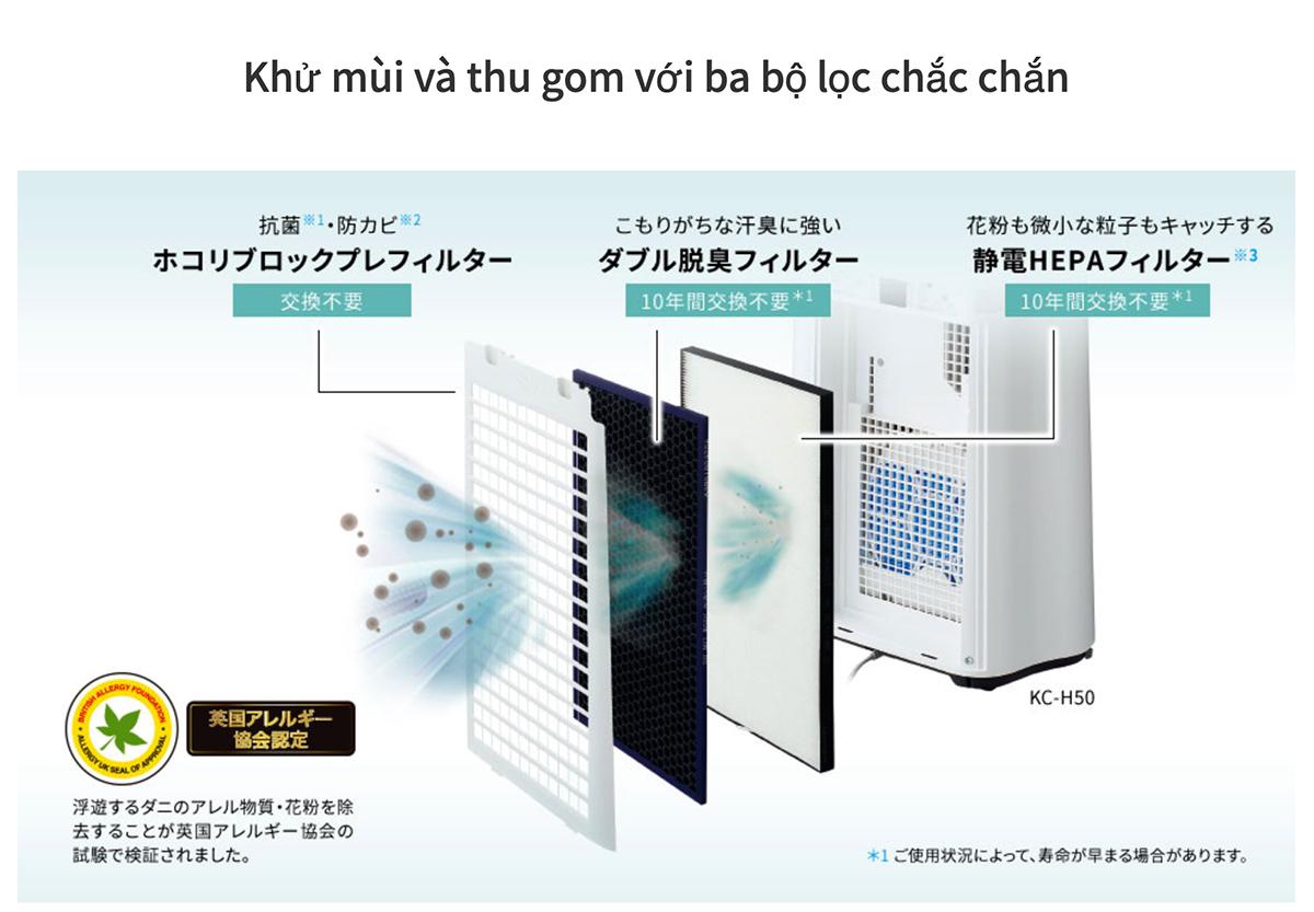 Máy lọc không khí tạo ẩm SHARP KC-H50-W